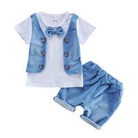 Wholesale Infant Wear Sets - 2017 Summer Baby Boys Suits Infant Wear Cotton Clothes Sets Vest T Shirt+Shorts 2 Pcs Kids Children Casual Sports Suits