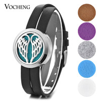Wholesale Double Wings Bracelet - Wings Perfume Diffuser Locket Bracelet 316L Stainless Steel Double Leather Openable without Felt Pads VA-578