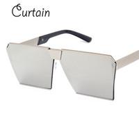 6fb545f5c07ed1 Venda por atacado - Moda de cortina de luxo quadrado óculos de sol dos  homens marca designer de celebridade do metal UNISEX mulheres oversized  óculos de sol ...