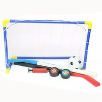 Wholesale Icing Pump - Wholesale- 2 in 1 Outdoor Indoor Kids Sports Soccer & Ice Hockey Goals with Balls and Pump Practice Scrimmage Game Football Toy Set