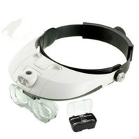 Freeshipping 1Pc Headband Headset Free Magnifying Head Jewellery 2 LED Light Magnifier Loupe