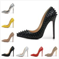 Fashion New Womens Sexy 12cm Spikes Talons hauts, Ladies Crystal Wedding Shoes avec talons minces 35-42 Livraison gratuite