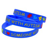 Wholesale i glow online – custom 100PCS I Love Someone with Autism Silicone Wristband Puzzle Logo A Great Way To Show Your Support