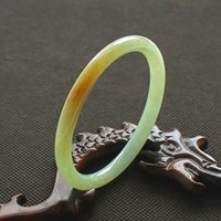 China tradicional Natural Myanmar Jadeite Pulseira Jade Bangle redonda barra amarela