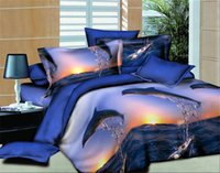 Wholesale Dolphin 3d Bedding Set - Wholesale- Dolphin Bay Bed linen quilt bedding textile trade bedline family of four bed set 3D four sets of textile