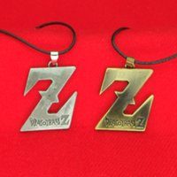 Wholesale men necklace dragon silver - Dragon Ball Z Necklace Ancient Silver Bronze Dragon Ball Saiyan LOGO Letter Pendants for Women Men Jewelry Drop Shipping