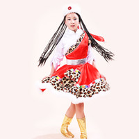 Wholesale Kids Stage Clothing - Hot sale Children Cosplay Costumes Kids Clothing Set Mongolian skirt Masquerade Party Clothes Children's Dance Costume free shopping