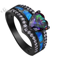 Wholesale Purple Opals - Black Gold Plated Rainbow Blue Green Purple Stone Blue Opal Rings Heart Shaped Ring Wholesale Fashion Jewelry Cocktail Ring Gift