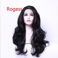 Wholesale Dark Brown Layered Long Wig - Natural Hairline Bouncy Layered Long Dark Brown #2 Bodywave Heat Resistant Synthetic Hair Lace Front Wigs For Women