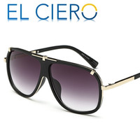 Wholesale Modern Flats - EL CIERO Designer Sunglasses For Men & Women 2017 High Quality Modern Flat Top Pilot Glasses Unisex Classic Stylish Shades UV400 Protection