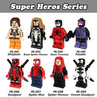 Wholesale Tarantula Wholesalers - DHL 120pcs Mix Lot Super Hero Spider Man Series Minifig Whiplash Paladin Venom Deadpool Tarantula POGO PG8057 Mini Building Blocks Figures