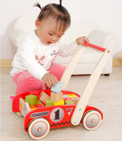 Wholesale Toddler Stacking Toys - Baby Toddlers Sit-to-Stand Learning Walker, 2-in-1 Use as Toy Chest Storage, Push and Pull Toy with Stacking Wooden Blocks for 1 Year and Up