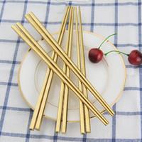 Wholesale High Grade Chopsticks - High Grade 304 Stainless Steel Square Chopsticks China Dinnerware Gold Black Silver Color Kitchen Tableware ZA3983