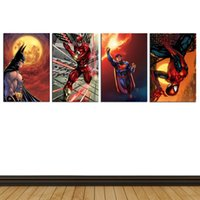 Wholesale Oil Paintings Nudes - Super Heroes,4 Pieces Home Decor HD Printed Modern Art Painting on Canvas (Unframed Framed)