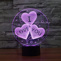 Wholesale I Lamp - Acrylic 7 Color Changing USB charge 3D HEART I LOVE YOU LED night light with 3D luminous Decor table lamp nightlight