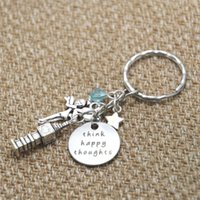 Wholesale Happy Promotions - 12pcs lot Peter Pan Inspired keyring Peter Pan Think Happy Thoughts crystals for women or girls key chain