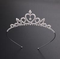 ingrosso fascia delle donne della corona-Bambini delle ragazze delle donne tornante Crown Princess di cristallo d'argento dei capelli del cerchio Gioielli da sposa diadema del partito spettacolo tiara di diamanti fascia Accessori per capelli