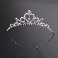 çocuklar kafa bandı taç taç toptan satış-Çocuklar Kadınlar Kız Firkete Prenses Taç Gümüş Kristal Saç Hoop Takı Gelin Tiara Parti Yarışması Elmas Tiara Kafa Saç Aksesuarları
