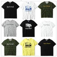 ordu kamuflaj gömlekleri toptan satış-EN Kaliteli 2017 Yeni Varış Gosha Rubchinskiy PACCBET T Gömlek Erkek Kadın Justin Bieber Gosha Kamuflaj T-Shirt Ordu Yeşil Tee