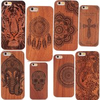 Wholesale Carved Cases - Genuine Wood Case For Iphone X 6 7 8 Hard Cover Carving Wooden Phone Shell For Apple Iphone 7 Plus Bamboo Housing Luxury Retro Protector