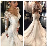 Wholesale Gorgeous Style - New 2017 Gorgeous Long Sleeves Lace Mermaid Wedding Dresses Dubai African Arabic Style Petite Slin Fishtail Bridal Gowns Plus Size