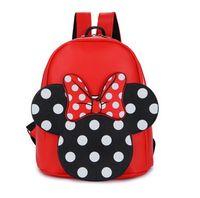 Wholesale Kid Cute Leather Backpacks - Girls backpacks cute bows PU leather double shoulder backpacks for children polka dots Mickey school bag fashion kids princess bag T4203
