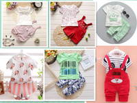 Wholesale Zebra Girl Skirts - Hot sell summer children dress rompers suit set 1-3years boys and girls suspenders skirt suit kids clothes and pants free shipping