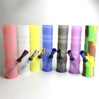 silicone transparente para água venda por atacado-Novo dobrado bongo de água de silicone portátil com claro preto azul vermelho bongo de plástico filtro duplo de óleo de silicone para fumar