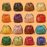 Wholesale Embroidery Jewelry Pouches - Jewelry Drawstring Bags, Women Jewelry Storage Bag, Chinese Silk Embroidery Packaging bags, Mix Color, sold by lot (50pcs lot)