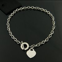 Wholesale Titanium Thick Necklaces - The heart-shaped circular OT thick hole titanium necklace buckle rose gold necklace fashion jewelry wholesale trade