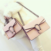 Wholesale Leather Bag Designer Brand - 2017 New Designer Handbags snake leather embossed fashion Women bag chain Crossbody Bag Brand Designer Messenger Bag sac a main