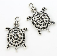 Wholesale Sea Turtle Charms Wholesale - Animal 3D Sea Turtle Tortoise Alloy Charms 100pcs lot Tibetan Silver Pendant 34mm L1181 Jewelry DIY