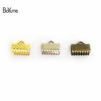 fixadores de jóias venda por atacado-BoYuTe 200 pcs 7 Tamanhos Ribbon Cord End Grampos Cap Crimps Beads Clips, Fivela, fechos, Fecho Diy Descobertas Jóias componentes