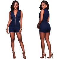 Wholesale Deep Vneck - Bodycon Rompers Womens Denim Jumpsuit Sexy Fashion 2017 Party Bandage Jumpsuit Deep Vneck Sleeveless Zippe Denim Bodysuit S-XL
