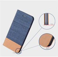 Wholesale Case Jean Iphone - 2016 Hot Selling Jean+Canvas PU Leather Flip Mobile Phone Case with Card Slots for iphone 6 plus