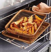 Wholesale Copper Chef Crisper Tray Baking Pan Grill Ceramic Oven Nonstick Air Fryer Crisper Baking Set LJJK714