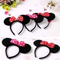 Wholesale Dotted Flower Headband - Girls Minnie Ornaments Baby Dot Headbands Children Accessories Girls Cute Flower The Little Baby Headbands Baby Girl Hair 2017 New Summer