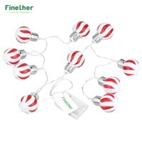 Venta al por mayor- Finether batería Powered 10 LEDs rojo y blanco Stripe globo bola cuerda luces de Navidad Halloween Party Decor Uso comercial