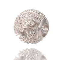 encanto único de pandora al por mayor-Perlas únicas de la joyería de plata del encanto de Rondelle del encanto grande Perlas grandes del agujero de Pandora Charm Charity ICPD050, 10.3 * 10.8mm