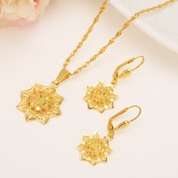 Wholesale Plant Technology - Ethiopian 14k Yellow Solid Fine Gold GF Filled set Jewelry Anise Pendant Chain Earrings African Bride Wedding Technology Bijoux