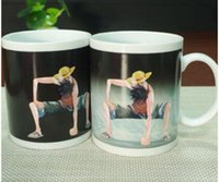Wholesale Tea One Wholesale - Anime Coffee Cup Mug One Piece Luffy Zoro Ace Hot Changing Color Heat Reactive Tea Milk Cup Magic Ceramic Sailing Drinkware Copo