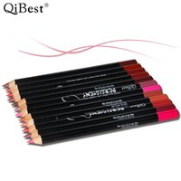 Wholesale Assorted Wood - Wholesale- 12pcs lot Qibest makeup hot selling wood lipliner pencil assorted 12 colors waterproof lip pencil Q1615