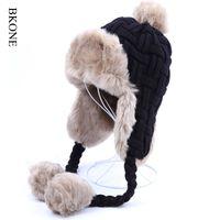Wholesale Ushanka Fox - Wholesale- Women Trapper Hats Winter Warm Faux Fox Fur Bomber Hat Beanies Russian Ushanka Wool Knit Pom Pom Earflaps Aviator Caps