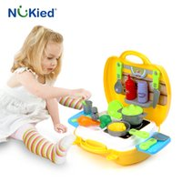Wholesale Kitchen Utensils Baby - NUKied Kids Food Cook Kitchen Utensils Toy Portable Kits Children Cosplay Role Play Baby Cutting Vegetables Classic Toys