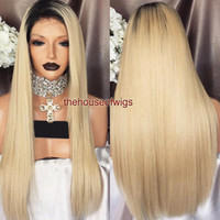Best Hair Blonde Perruques Cheveux Humains Ombre Glueless Front Lace Wigs Silky Straight Two Tone Full Lace Wigs Blonde Hair Black Roots Wig