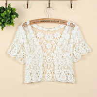 Wholesale Thin Shrug - Fashion Short Sleeve Cutout Cape Open Stitch Cardigan Hollow Out Crocheted Lace Shrugs Free Shipping