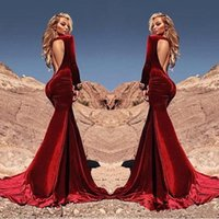 Wholesale Gold Velvet Drapes - Sexy Open Back Saudi Arabia Burgundy Mermaid Velvet Prom Dresses 2017 Long Sleeve Formal Evening Party Gowns Special Occasion Gowns BA4442