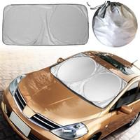 araba güneş gölge katlanabilir toptan satış-Jumbo Katlanabilir Ön Arka Araba SUV Pencere Güneş Gölge Oto Visor Cam Kapak Ücretsiz Nakliye