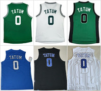Wholesale Authentic College Jerseys - 2017 Rookie BOS #0 Jayson Tatum green white Duke Blue Devils Jayson Tatum 0 V Neck black blue white College Basketball Authentic Jersey
