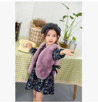 Wholesale Girl Black Lace Coat - Kids Waistcoats Girls Faux Fur Vest Children Lace fleece casual style Outwears Kids Princess Coats Autumn Winter New Girls Clothing G1246